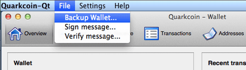 Backup Wallet